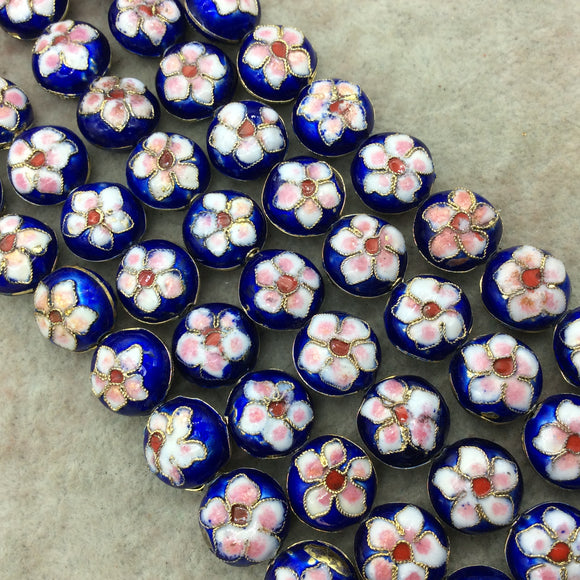 15mm Decorative Floral Cobalt Blue Round Pillow Shaped Metal/Enamel Cloisonné Beads - Sold by 15
