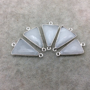 Silver Plated Natural White Beryl Faceted Arrow/Triangle Shaped Copper Bezel Connector - Measures 18mm x 20-25mm - Sold Individually, Random