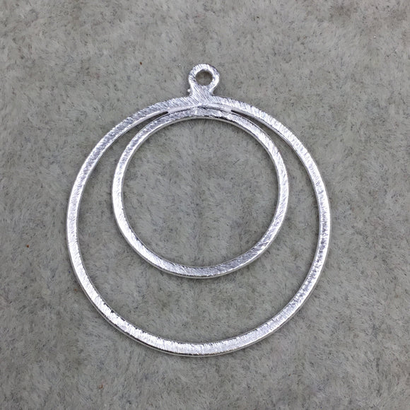 37mm x 37mm Large Sized Silver Plated Copper Double Nested Circular/Hoop Shaped Pendant Components - Sold in Packs of 10