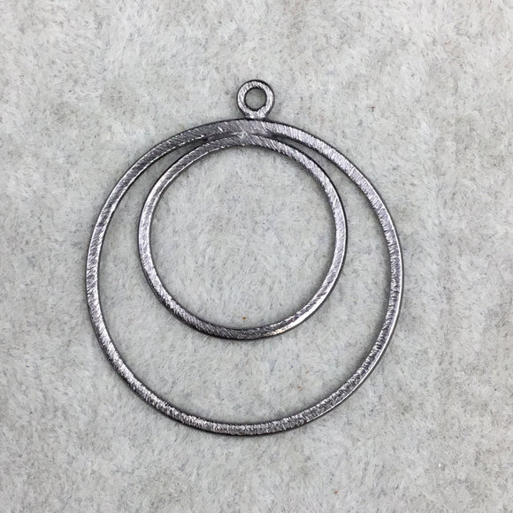 37mm x 37mm Large Sized Gunmetal Plated Copper Double Nested Circular/Hoop Shaped Pendant Components - Sold in Packs of 10