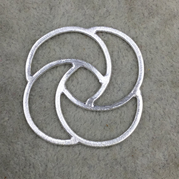 Silver Brushed Large Open Spiral Knot Shaped Link Plated Copper Components - Measuring 38mm x 38mm - Sold in Packs of 10