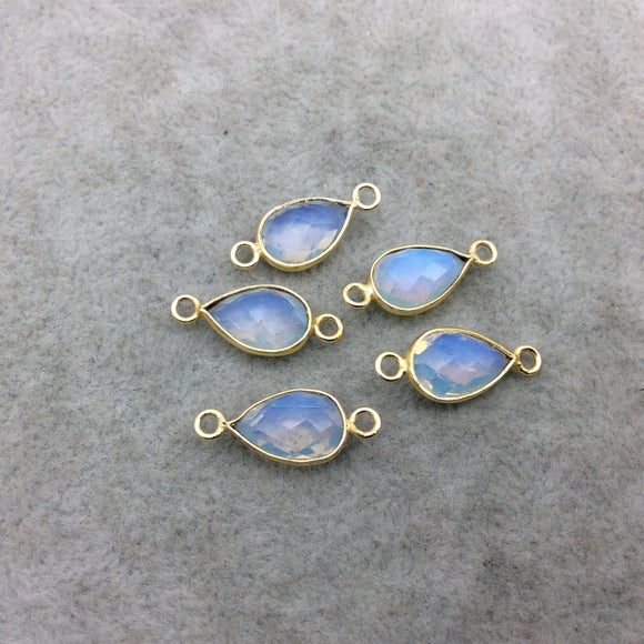 Gold Plated Faceted Milky Opalite (Manmade Glass) Pear/Teardrop Shaped Bezel Connector - Measuring 8mm x 12mm - Sold Individually