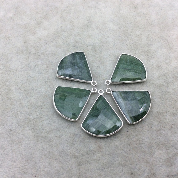 Silver Finish Faceted Green Aventurine Fan Shape Bezel - Plated Copper Pendant Component ~ 22mm x 22mm - Sold Individually