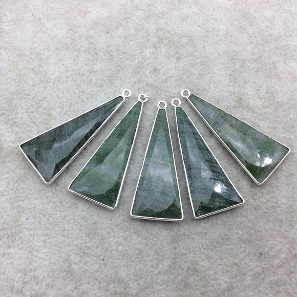 Silver Finish Faceted Green Aventurine Triangle Shape Bezel - Plated Copper Pendant Component ~ 15mm x 35mm - Sold Individually