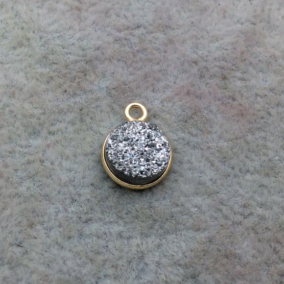 Druzy Agate Bezel Gold Finish Lavender Purple Coin Shaped Natural Bezel Pendant Component Sold Individually Measures 20mm x 20mm