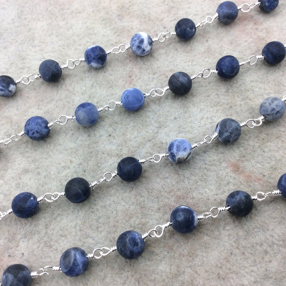 Silver Plated Copper Rosary Chain with 6mm Matte Round Shaped Blue/White Sodalite Beads - Sold by the Foot! - Natural Beaded Chain