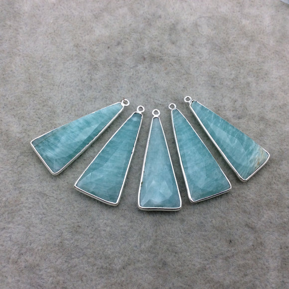 Silver Finish Faceted Green Amazonite Triangle Shape Bezel - Plated Copper Pendant Component ~ 15mm x 35mm - Sold Individually