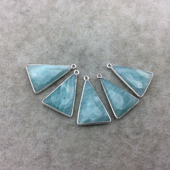 Silver Finish Faceted Green Amazonite Triangle Shape Bezel - Plated Copper Pendant Component ~ 15mm x 20mm - Sold Individually