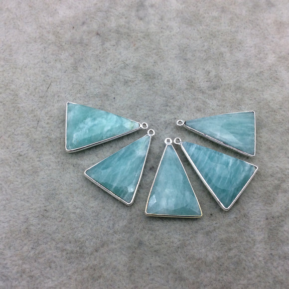 Silver Finish Faceted Green Amazonite Triangle Shape Bezel - Plated Copper Pendant Component ~ 18mm x 25mm - Sold Individually