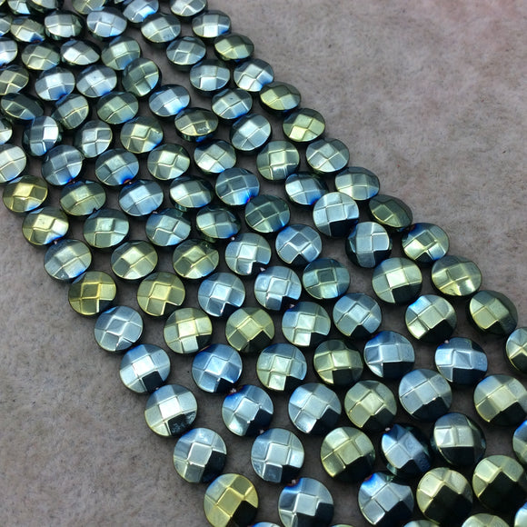 8mm Metallic Faceted Pale Teal Hematite Coin Shaped Beads - 15
