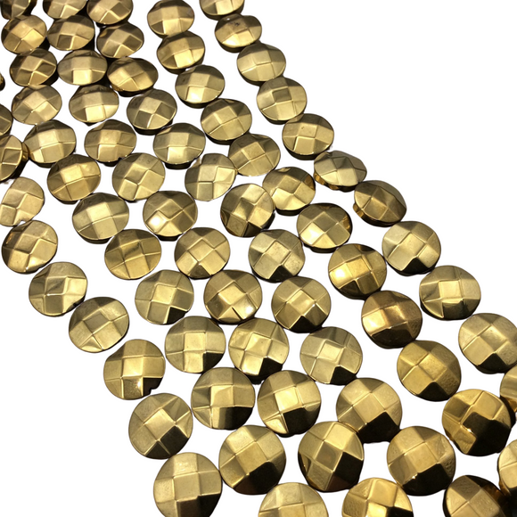 10mm Metallic Faceted Gold Hematite Coin Shaped Beads - 15