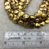 "10mm Metallic Faceted Gold Hematite Coin Shaped Beads - 15"" Strand -  Approx. 40 Beads Per Strand - Semi-Precious Gemstone"