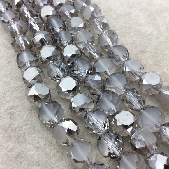 Chinese Crystal Beads | 12mm Matte Stripe Faceted Transparent Medium Gray Glass Crystal Flattened Round Beads