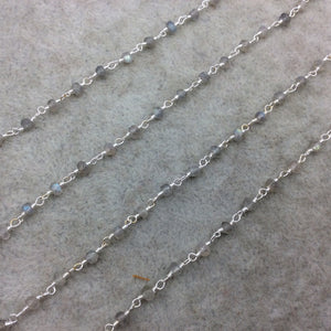 Silver Plated Copper Wrapped Rosary Chain W 4mm Faceted Natural Iridescent Gray Labradorite Rondelle Shaped Beads (CH095-SV)