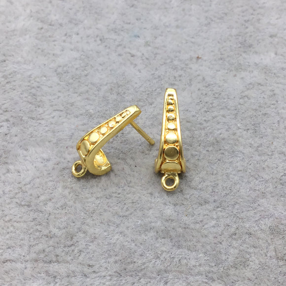8mm x 17mm - High Quality 18k Gold Overlay Post Clip with Circle Design and Loop - 1 Pairs Per Pack (2 Pieces Total)