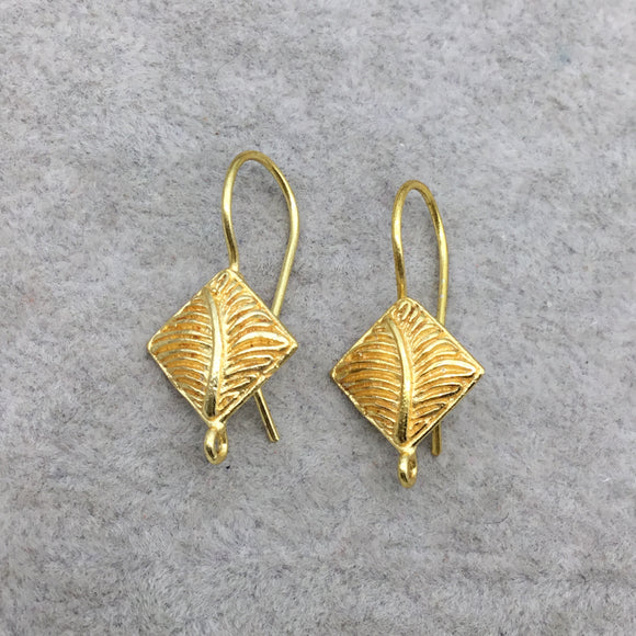 14mm x 15mm - 18k Gold Overlay Kite Shape with Leaf Design- High Quality Earring Wire - One Pairs Per Pack (Two Pieces Total)
