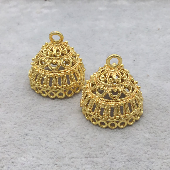 23mm x 23mm 18k Gold Overlay Round Chandelier High Quality Earring Finding - 1 Pairs Per Pack (2 Pieces Total)