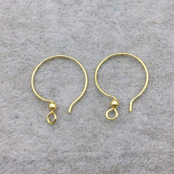 18k Gold Overlay 26mm Hoop with French Hook and Ball - High Quality Earring Finding - Seven Pairs Per Pack (Fourteen Pieces Total)