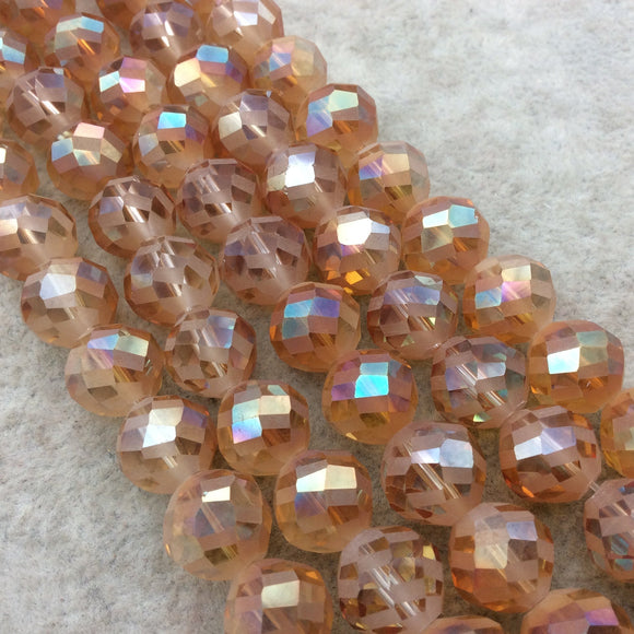 Chinese Crystal Beads | 12mm Matte And Glossy Checkerboard Faceted Transparent Orange Peach Glass Round Beads