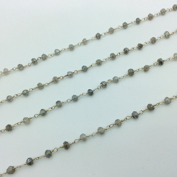 Silver Plated Copper Rosary Chain with 3-4mm Rondelle Shaped Mystic Coated Gray Labradorite Beads - Sold by the Foot! (CH148-SV)