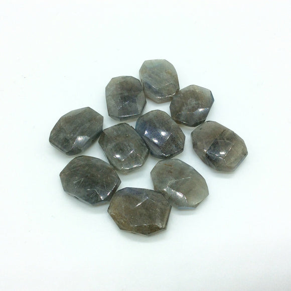 15mm x 23mm High Quality Natural Labradorite Faceted Flat Octagon Shape CROSS DRILLED Loose Beads W 1mm Holes - Sold in Pkg of 10 Beads
