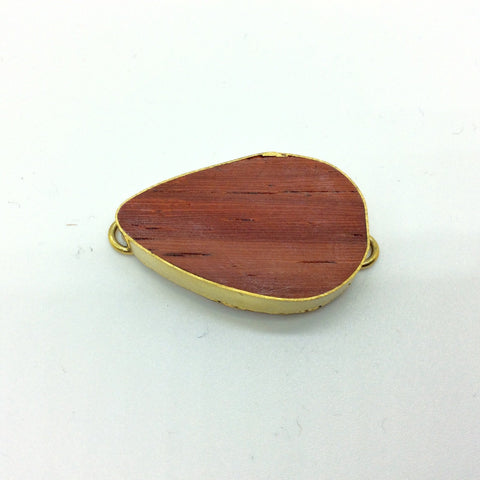 "1.25"" Natural Red Wood Teardrop Shaped Gold Plated Bezel Connector - Measuring 20mm x 35mm - Sold Individually, Chosen at Random"