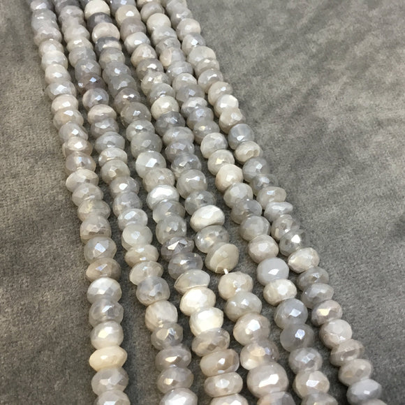 3-5mm x 6.5-7mm Natural Faceted Mystic Light Gray Moonstone Rondelle Beads - Sold by 13