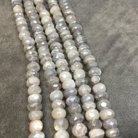3-5.5mm x 7.5-8mm Natural Faceted Mystic Light Gray Moonstone Rondelle Beads - Sold by 13