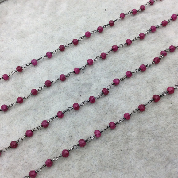Gunmetal Plated Copper Rosary Chain with Faceted 3-4mm Rondelle Shaped Enhanced Ruby Beads (CH111-GM) - Sold in 1'  Sections!