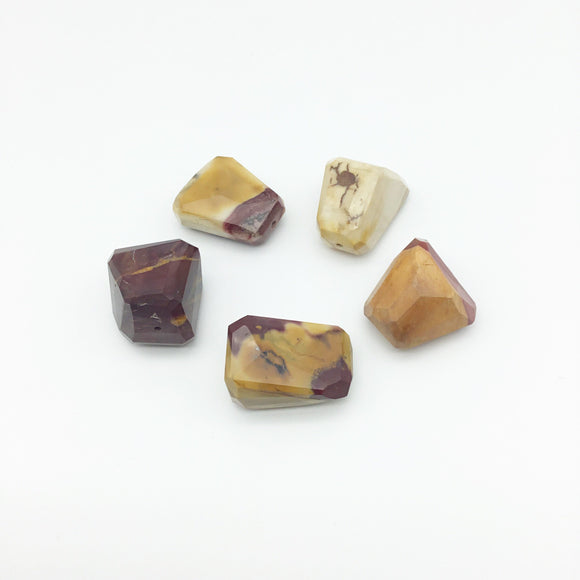 20-30mm Faceted Mookaite Nugget Bead - Sold Individually, Randomly Chosen - High Quality Hand-Cut Indian Semi-Precious Gemstone