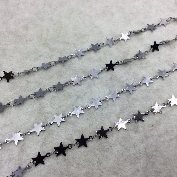Gunmetal Plated Copper Star And Link Chain - 6mm x 6mm Stars With Connectors - CUTE and Delicate - Sold By the Foot!   (CH462-GM)