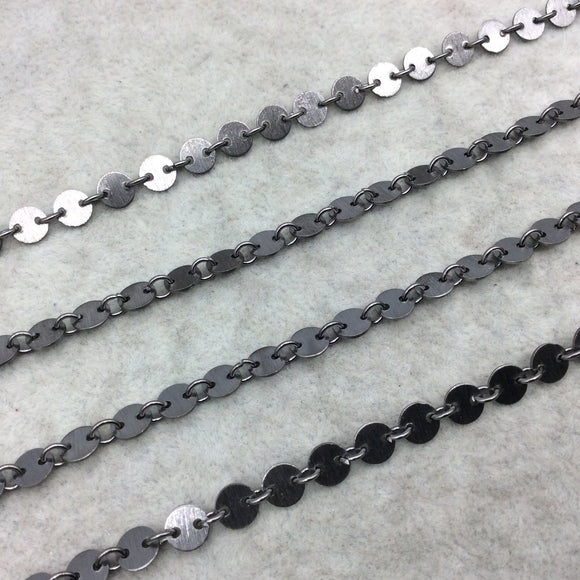 Gunmetal Plated Copper Circle/Disc And Link Chain - 4mm Circles With Connectors - CUTE and Delicate - Sold By the Foot!   (CH459-GM)