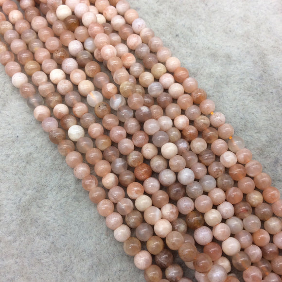 4mm Smooth Mix Peach Moonstone Round/Ball Shaped Beads with .8mm Holes - 15.75