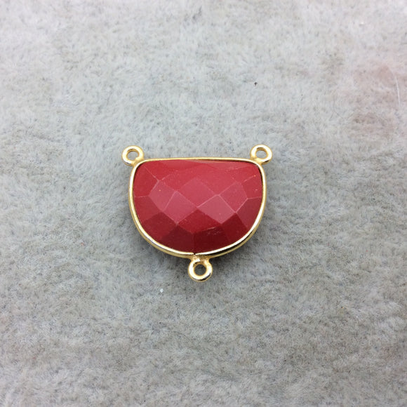 Gold Vermeil Faceted Half Moon Shaped Red Hydro (Man-made) Chalcedony 3 Ring Bezel Connector - Measuring 16mm x 20mm - Sold Individually