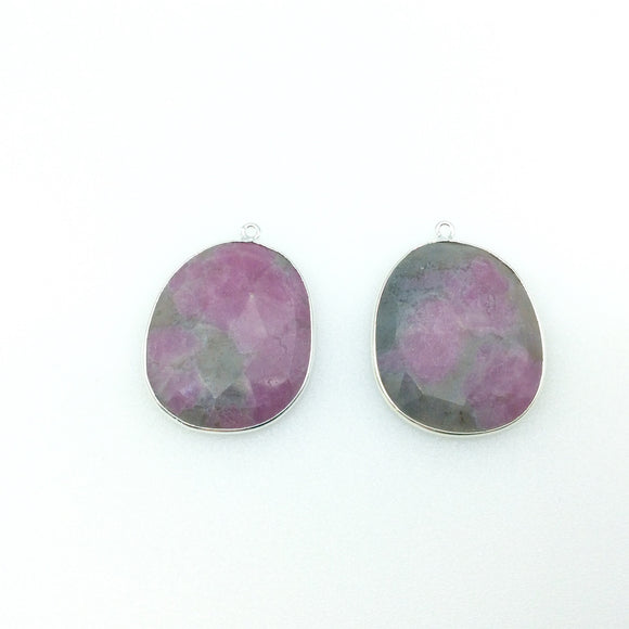 One Pair of OOAK Silver Finish Faceted Ruby in Feldspar Freeform Shaped Bezel Pendants