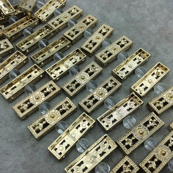 Gold Finish 3 Hole Flat Filigree Rectangle Shape Plated Pewter Beads (01961)- 8