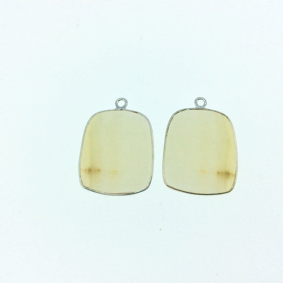 One Pair of OOAK Silver Finish Faceted Yellow Banded Agate Freeform Shaped Bezel Pendants