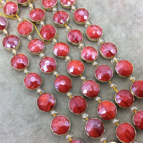 Chinese Crystal Beads | 14mm x 14mm Gold Electroplated Glossy Finish Faceted Opaque Cadmium Red Round Coin Glass Beads