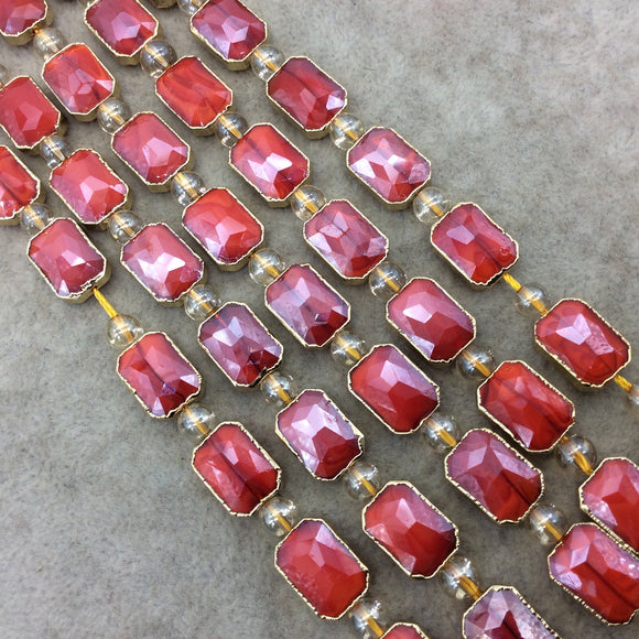 Chinese Crystal Beads | 10mm x 14mm Gold Electroplated Glossy Finish Faceted Opaque Cadmium Red Rectangle Glass Beads