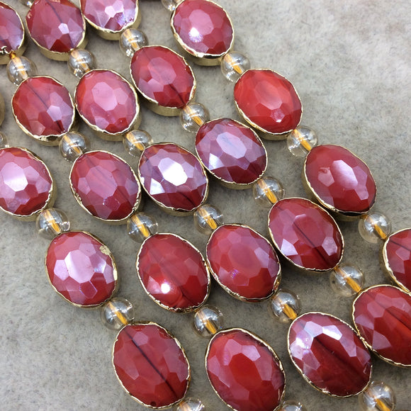 Chinese Crystal Beads | 12mm x 16mm Gold Electroplated Glossy Finish Faceted Opaque Cadmium Red Crystal Oval Glass Beads