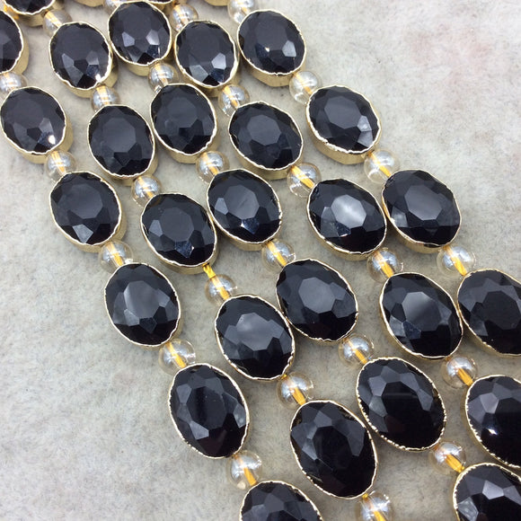 Chinese Crystal Beads | 12mm x 16mm Gold Electroplated Glossy Finish Faceted Opaque Black Onyx Crystal Oval Glass Beads