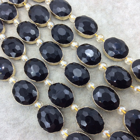 Chinese Crystal Beads | 16mm x 20mm Gold Electroplated Glossy Finish Faceted Opaque Black Onyx Crystal Oval Glass Beads