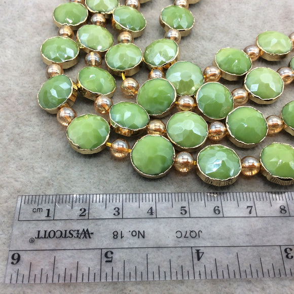 Chinese Crystal Beads | 14mm x 14mm Gold Electroplated Glossy Finish Faceted Opaque Apple Green Round Coin Glass Beads