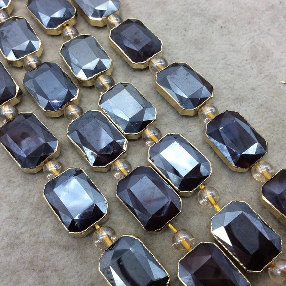 Chinese Crystal Beads | 13mm x 18mm Gold Electroplated Glossy Finish Faceted Opaque Black Ruby Rectangle Glass Beads