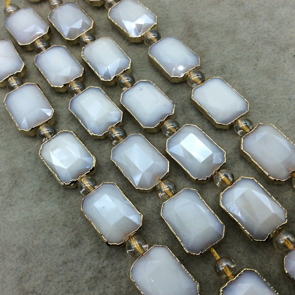 Chinese Crystal Beads | 13mm x 18mm Gold Electroplated Glossy Finish Faceted Opaque White Crystal Rectangle Glass Beads