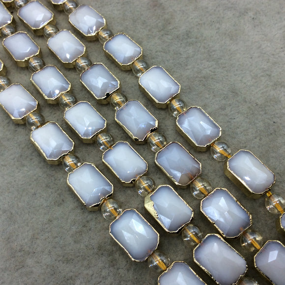 Chinese Crystal Beads | 10mm x 14mm Gold Electroplated Glossy Finish Faceted Opaque White Crystal Rectangle Glass Beads