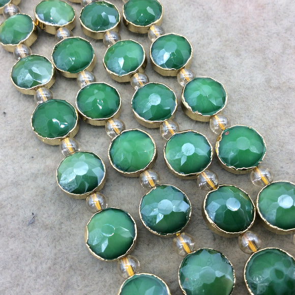 Chinese Crystal Beads | 14mm x 14mm Gold Electroplated Glossy Finish Faceted Opaque Green Round Coin Glass Beads