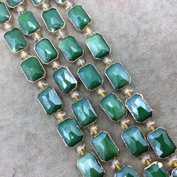 Chinese Crystal Beads | 10mm x 14mm Gold Electroplated Glossy Finish Faceted Opaque Green Crystal Rectangle Glass Beads