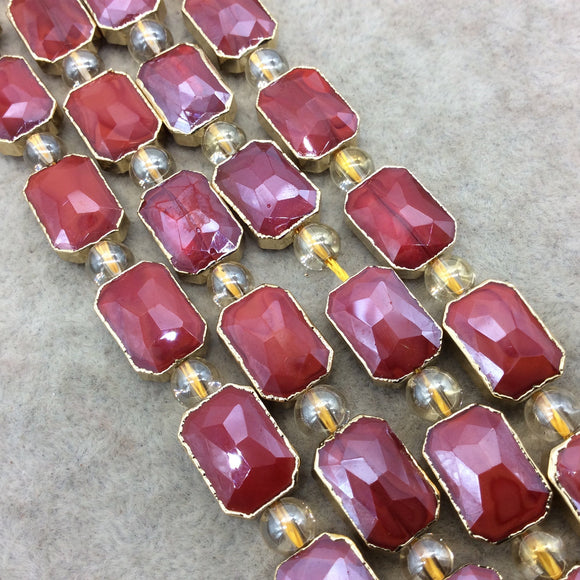 Chinese Crystal Beads | 10mm x 14mm Gold Electroplated Glossy Finish Faceted Opaque Deep Red Rectangle Glass Beads