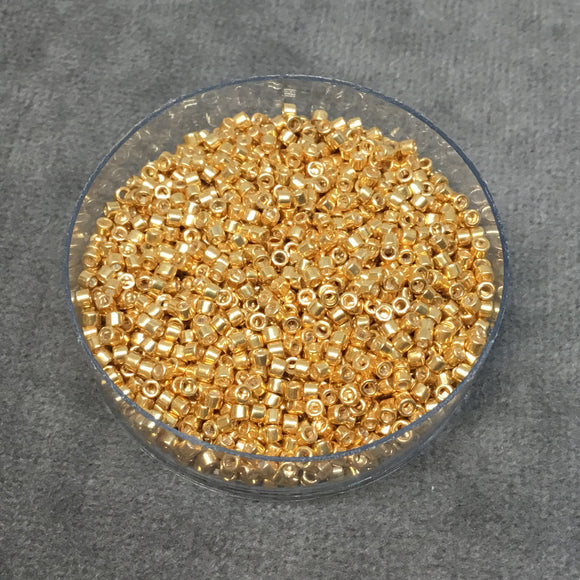 Size 11/0 Metallic Galvanized Yellow Gold Genuine Miyuki Delica Glass Seed Beads - Sold by 7.2 Gram Tubes (Approx. 1300 Beads per 2